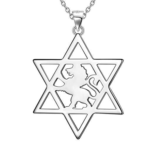 Besilver Davidstern Halskette mit Löwe von Juda Sterling Silber Judah Löwe Anhänger Halskette für Männer Frauen Unisex Schmuck Geschenk für Mama mit Geschenkbox FP0104W