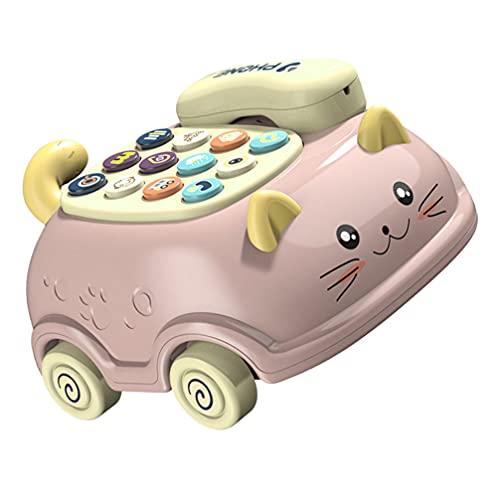 VILLCASE Móvil de Juguete de Bebé de Dibujos Animados de Línea Fija Simulada Máquina de Música Niño Juego de Roles de Simulación de Juego de Teléfono con Llamada para Niños Regalo de