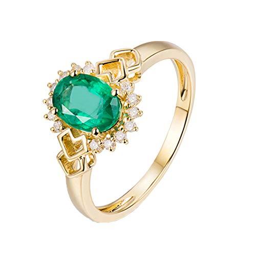 Daesar Anillos de Oro Amarillo 18K Mujer,Flor con Corazón Hueco Esmeralda Verde 0.86ct Diamante 0.11ct,Oro Verde Talla 13,5