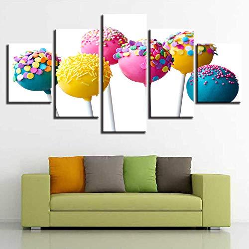 Pinturas modernas Decoración Hogar Sala de estar Pared 5 piezas Lollipop de colores Imágenes artísticas Póster de lienzo Impresión HD-30x40cmx2_30x60cmx2_30x80cmx1