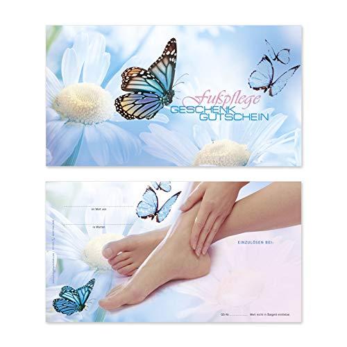 50 hochwertige Gutscheinkarten Geschenkgutscheine. Gutscheine für Fußpflegesalon Fußpflege. Vorderseite hochglänzend. FU1203
