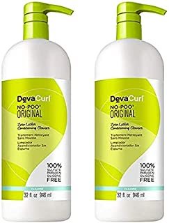 DevaCurl ORIGINAL No-Poo Zero-Lather Cleanser & One Condition Daily Cream Conditioner DUO Set (Original - 32 oz Large Liter Duo Set)