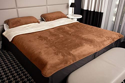 Mayaadi-Home Kombi-Set Bettdecke mit 2 Kissen Reine Merino-Schafschurwolle Naturprodukt Braun-Creme 155x200