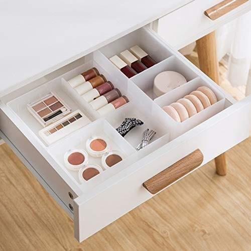 Make-up Pinsel Lagerung Schublade Stil Halter, Kunststoff Bürocontainer Kosmetik Divider Box Weiß (Color : A)