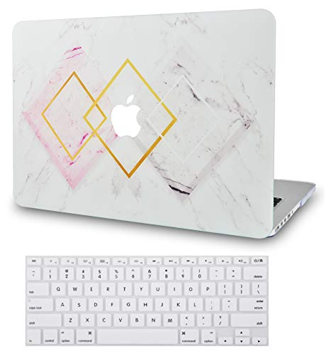 LuvCase 2 in 1 Laptop Case for MacBook Pro 13' (2020) with Touch Bar A2238 M1/A2251/A2289 Rubberized Plastic Hard Shell Cover & Keyboard Cover (Diamond Shape Marble)
