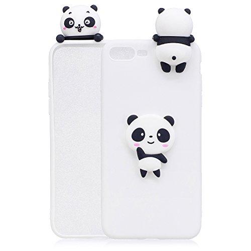 Handyhülle Für iPhone 7 Plus/8 Plus 3D Panda Tiere-Silikon Hülle Schutzhülle - Süße Karikatur Tier Muster Ultra Dünn Slim Weiche Flexible Gummi Bumper Case für Kinder Jungs Mädchen,Weiße Teddybär