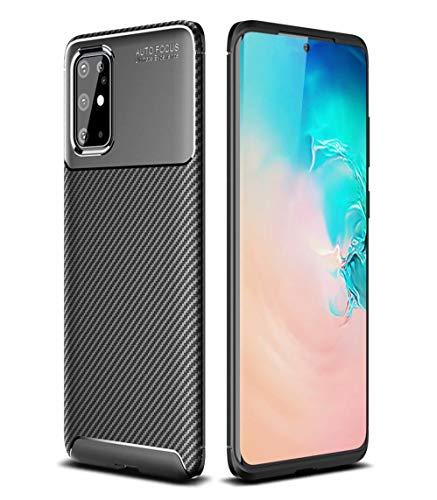 AILZH Handyhülle für Samsung Galaxy S20 Plus/S20+ Hülle Weiches TPU Silikon Handyhülle Schutzhülle Kratzschutz Anti-Schock Stoßfänger Stoßfest Shockproof Bumper Cover Carbon-Faser Hülle(schwarz)