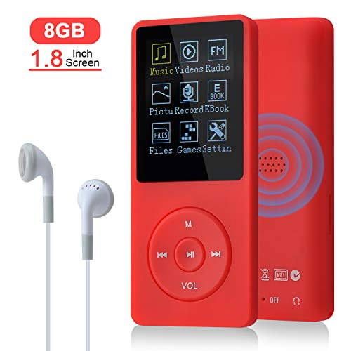 COVVY 8GB(Support bis zu 64GB SD Speicherkarte) Tragbare MP3 Musik Player 70 Stunden Musik Playback Lossless Sound Hi-Fi MP3 Player (Rot)