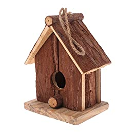 GREEN&RARE Natural Wood Bird House Hanging Nest Outdoor Garden Cage Wildlife Hotel & Feeder Bird Nesting Box