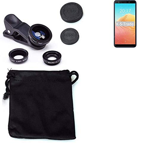 K-S-Trade® 3in1 para Ulefone S9 Pro Obiettivo Lente 180° Fisheye, Gran Angular 0.67x, Macro Amplicación len Negro