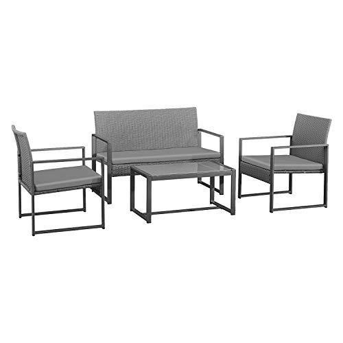 BENEFFITO CAPRERA - Muebles de jardín de Resina Trenzada con Cojines - Estructura de Acero - 4 plazas - Sofá de 2 plazas, 2 sillones, 1 Mesa de Centro Rectangular - Gris/Gris