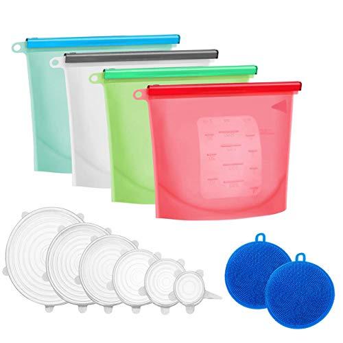 IMHEMI - Set di 4 sacchetti riutilizzabili in silicone per alimenti, lavabili ed ecologici, coperchi in silicone elasticizzati, per ciotole, alimenti, frutta, 2 pezzi