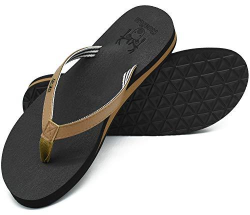 KuaiLu Chanclas Mujer Verano Playa Piscina Comodas Piel Sandalias Planas Caminar Ortopedicas Zapatos DBrown 39