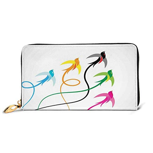 Women's Long Leather Card Holder Purse Zipper Buckle Elegant Clutch Wallet, Group of Colorful Swallow Birds Flying to Sky Hope Phoenix Courage Wings Graphic Art,Sleek and Slim Travel Purse