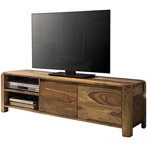 WOHNLING Lowboard Massivholz Sheesham Kommode 140 cm TV-Board Ablage-Föcher Landhaus-Stil dunkel-braun Unterschrank TV-Möbel Echt-Holz 40 cm hoch Sideboard Deko Fernsehschrank offen Natur-Produkt