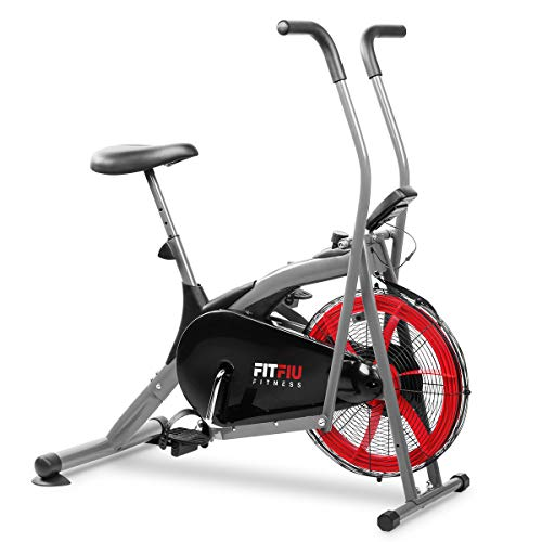 Fitfiu Fitness BELI-150 - Bicicleta elíptica con resistencia por aire, sillín regulable y pantalla LCD multifunción, Máquina fitness para entrenamiento de resistencia y cardio