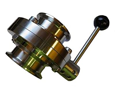 """4"""" Bore Sanitary Butterfly Valve with 4"""" Tri Clamp Fittings and Pull Handle by Emerald Gold"""