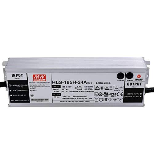 MEAN WELL HLG-185H-24A - Fuente de alimentación LED (185 W, 24 V, IP65, voltaje y corriente regulables, 24 V, 185 W)