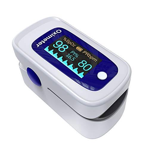 Pulsoximeter, Sauerstoffsättigung messgerät finger, Oximeter mit omnidirektionaler OLED-Bildschirmanzeige, tragbares leichtes pulsoxymeter fingerpulsoximeter, inklusive Lanyard und Batterien