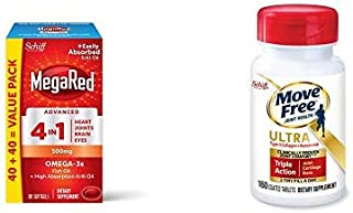 Omega-3 Fish Oil + High Absorption Krill Oil 500mg Softgels, MegaRed Advanced 4in1 w/ Type II Collagen, Boron & HA Ultra Triple Action Tablets, Move Free
