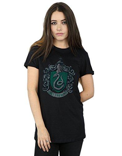 HARRY POTTER Mujer Slytherin Distressed Crest Camiseta del Novio Fit Medium Negro