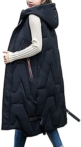 SKYWPOJU Damska kamizelka bawełniana o średniej długości kamizelka puchowa kamizelka bawełniana kurtka jesienno-zimowa Casual modne zamki luźny zamek błyskawiczny bez rękawów jednolity ciepły płaszcz