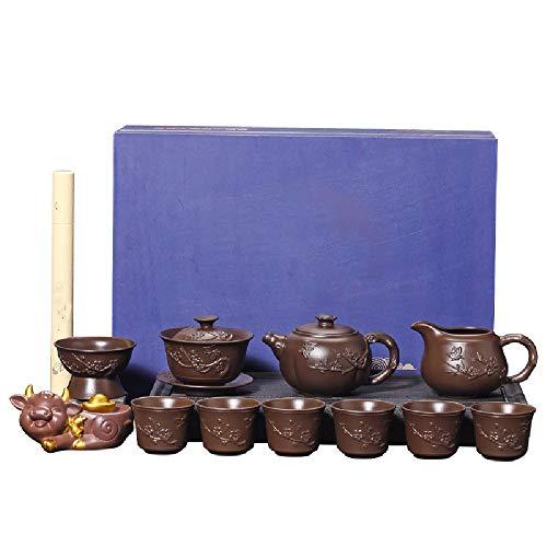Gyubay Práctico Juego de Té Tetera se Establece Tetera Hecha a Mano China Tetera Saludable Té de la Tarde Fiesta Fácil de Usar (Color : Marrón, Size : One Size)