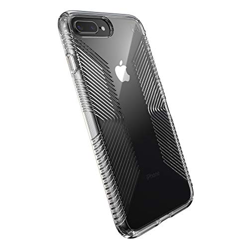 Speck Products Compatible Phone Case for iPhone 8 Plus/iPhone 7 Plus, Presidio Perfect-Clear with Grip Case, Clear/Clear (136230-5085)