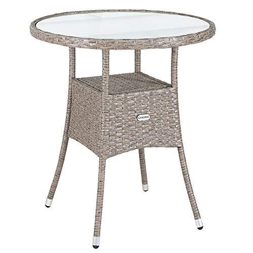 Casaria Poly Rattan Balkontisch Ø 60 x 74 cm Milchglas Rund Gartentisch Beistelltisch Tisch Gartenmöbel Grau Beige