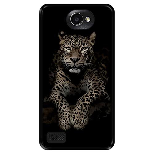 Hapdey Funda Negra para [ LG X150 Bello 2 ] diseño [ Leopardo, Mirando ] Carcasa Silicona Flexible TPU