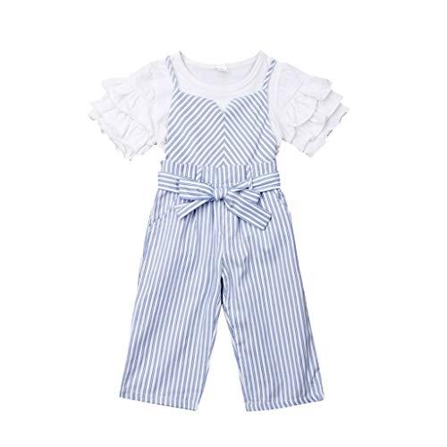 Julhold Kleinkind Baby Kinder Mädchen Solide Einfach Rüschen T-Shirt Oberteile Gestreifte Schleife Gürtel Overall Set 0-4 Jahre