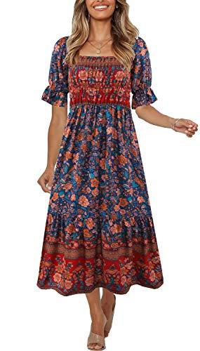 Women's Summer Bohemian Square Neck Floral Print Ruffle Vintage Flowy Beach Vacation Long Midi Boho Dress,2-L
