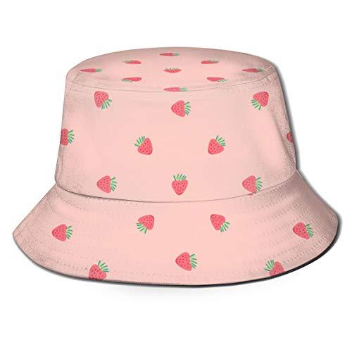 Sombrero de pescador reversible con fondo de fresa rosa y fondo de color sólido para exteriores con diseño de plantas