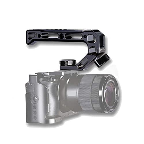 HAFOKO R008 Kamera/DSLR Top Handle Grip Ortung Loch Verbindung mit Kalter Schuh Adapter kompatibel with A6400 6600 Metall Low Angle Shots Mikrofon 15MM NATO Rail Rod Clamp Rohrloch Kamera Käfig