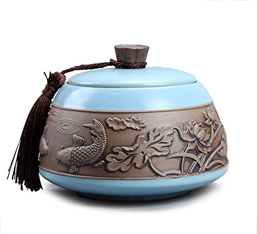 ZYF Cremation Urn for Ashes Funeral Urn Cremation Urns Adults Children Pet Urns Sealed Against Moisture Garden Urns for Ashes TQZHENG (Color : Blue)