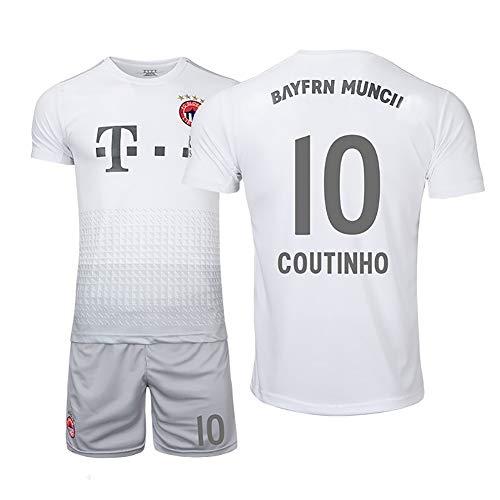 Deutsches Trikot Set mit 10 Siegeln Trikot Real Boy Adult Fußballstrumpfhose, Kurze Ärmel und Shorts Fußballtrikot Fan Kleidung-White-XL