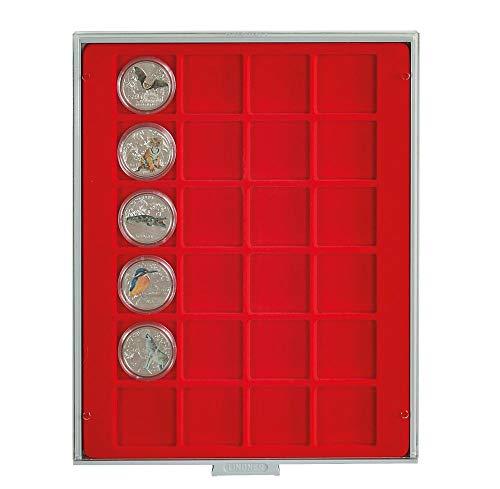 LINDNER Das Original Box Monnaies Standard à 24 alvéoles carrés pour Monnaies/Capsules jusqu'à Ø 42 mm