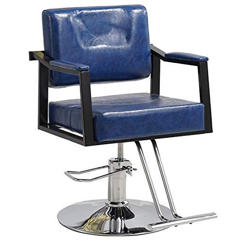 Silla Barbero Peluquería Cuero Asiento Barbería,Azul