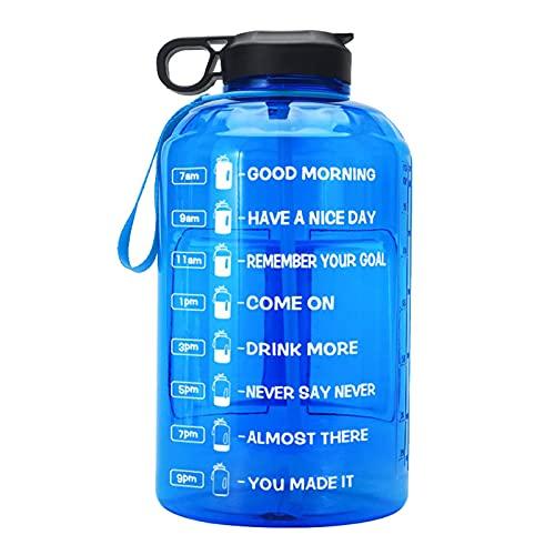 LIANGJING Botella de agua deportiva de 3,78 l, de gran capacidad, libre de Bpa, plástico no tóxico, con marcador de hora de pajita, ideal para gimnasio, deportes al aire libre, oficina en casa (azul)