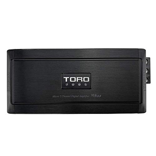 TORO TECH – MRx2, 150w x 2 RMS @ 4 Ohm – 250w x 2 RMS @ 2 Ohm Micro Sized Multi Channel Car Amplifier, Sound Quality Class D Design, Built-in Auto Sensing Turn-On, Full Range or Subwoofer Speaker