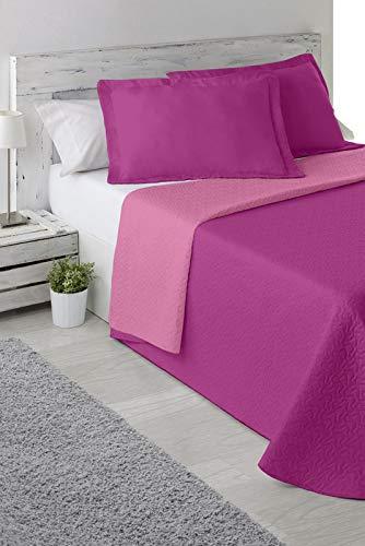 BENEDETTAHOME Colcha Bouti Primavera-Verano Modelo Bicolor Reversible Malva y Rosa con cuadrante Decorativo. Tamaño 235x265 cm + 2 cuadrantes de 50x70 cm. Colcha para Cama de 135.