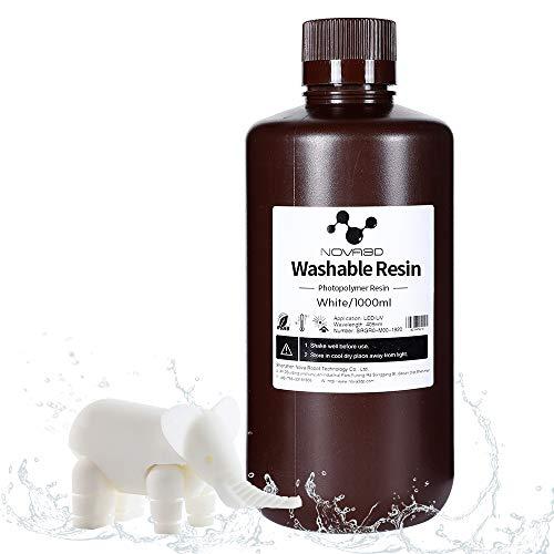 NOVA3D Water Washable Resin 3D Printer Rapid Photocuring UV 405nm Resin Standard polymer Resin for LCD/SLA/DLP, 1000ml/White