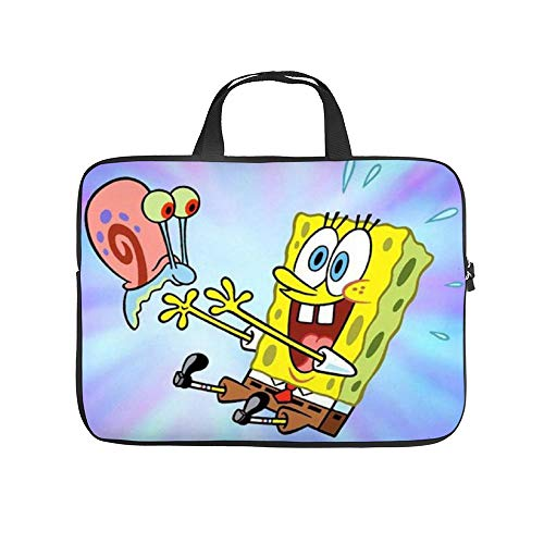 Spongebob and Snail 10-13' 13-17' Neoprene Laptop Sleeve Bag Carrying,Case Premium Laptop Briefcase Fits Up to 17 Inch Water-Repellent|for Travel/Business/School/Men/Women