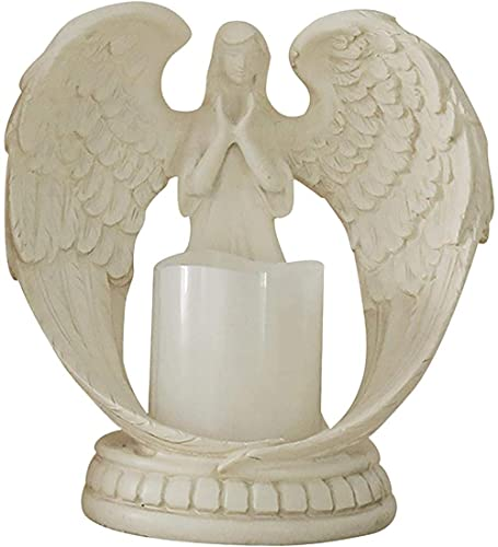 Wisson Candle Holder Angel in Prayer Sympathy Gift in Memory of the Beloved Tealight Candle Holder Angel Figurine with LED Candle Flickering Mourning for Past Relatives and Friends