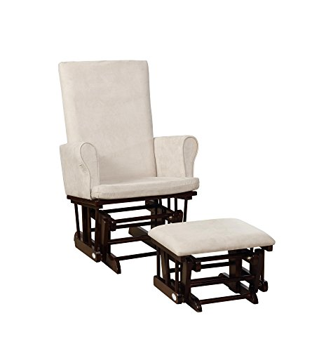 Naomi Home Mateo Wood & Upholstered Glider and Ottoman Set Espresso/Cream
