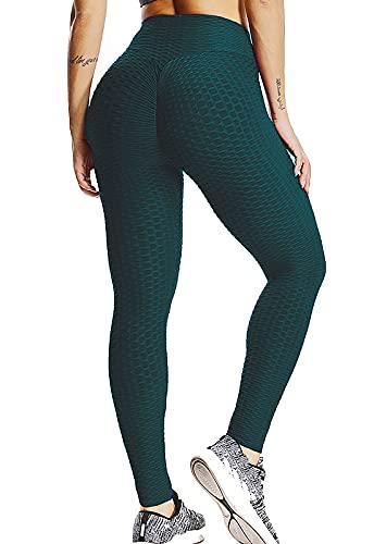 FITTOO Leggings Push Up Mujer Mallas Pantalones Deportivos Alta Cintura Elásticos Yoga Fitness Verde XS