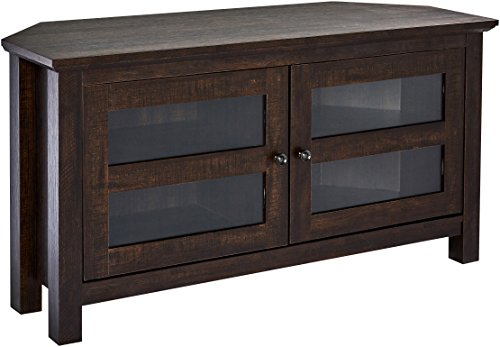 Rockpoint Adonia Corner TV Stand Media Console, 44-Inch - Dark Chocolate