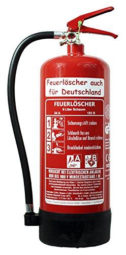 NEU 6 L Feuerlöscher Schaum AB BIO DIN EN 3 GS Haus Hof Wandhalter Manometer 34 A, 183 B = 10 LE Schaumlöscher