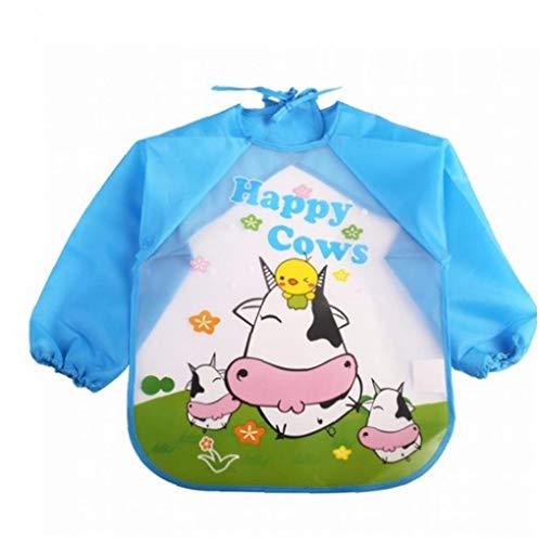 asdfwe 1 Pack Kids Smock Delantal Eva Manga Larga Mono del Niño del Bebé Impermeable Anti-Desgaste Vaca Baby Meal Ropa Desechable Babero Azul
