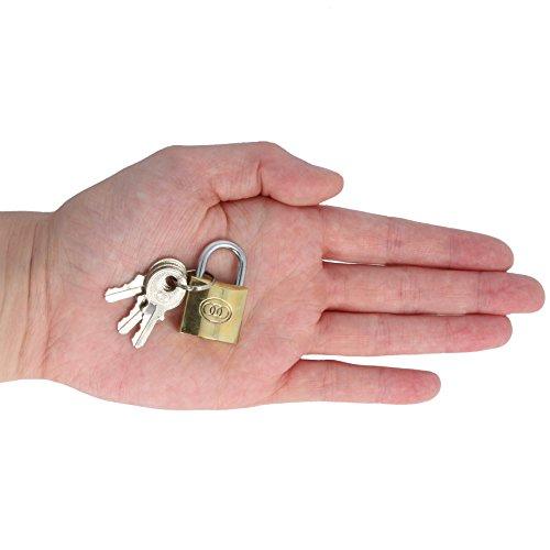 Tri Circle Solid Brass 20mm Small Padlock & 3 Keys Mini Luggage Suitcase Case Bag Travel Zip Lock